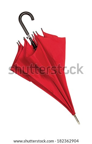 Closed red umbrella isolated over white - stock photo