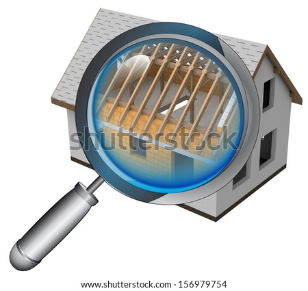 closed roentgen house structure detail  illustration - stock photo