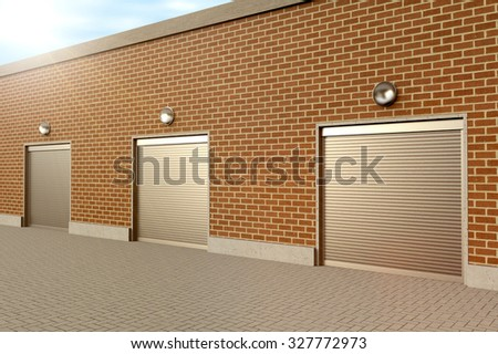 Closed roller doors at business