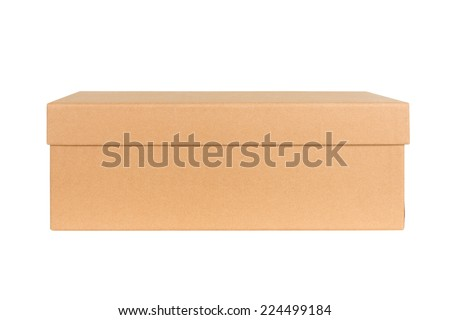 Closed shipping cardboard box isolated on white - stock photo
