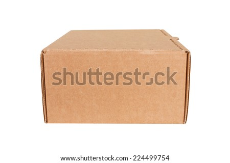 Closed shipping cardboard box isolated on white