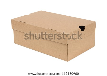 Closed shipping cardboard box isolated on white + Clipping Path - stock photo