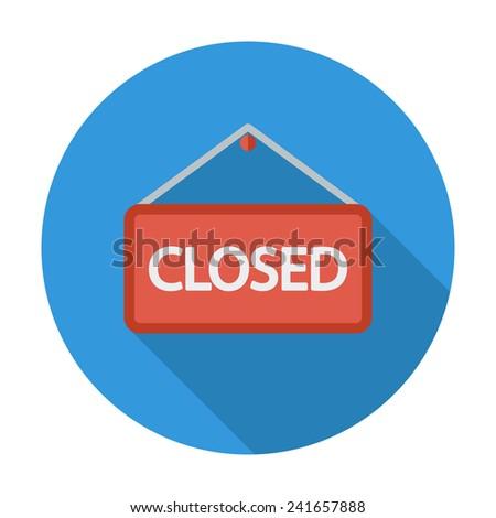 Closed Sign. Single flat color icon.  illustration. - stock photo