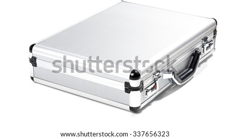 Closed Silver Briefcase - Isolated
