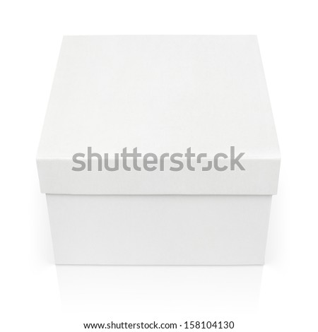 Closed square box isolated on white with clipping path - stock photo