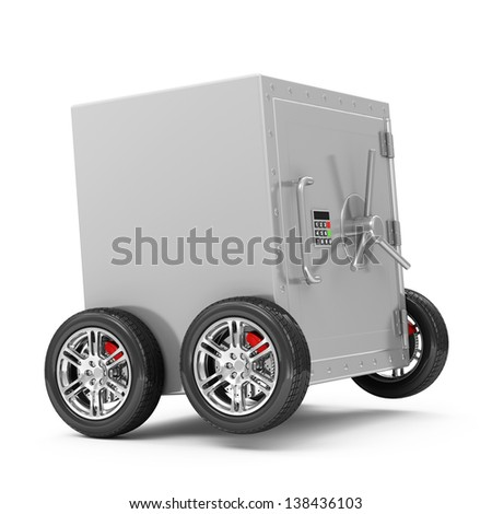 Closed Steel Safe on Wheels isolated on white background