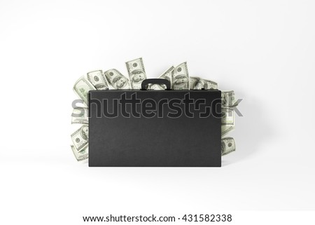 Closed suitcase with dollar banknotes coming out on white background. 3D Rendering - stock photo