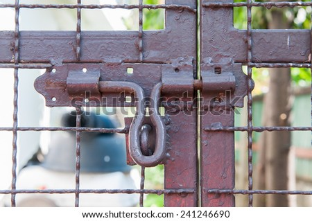 closed the door with lock - stock photo