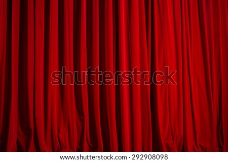 closed theater curtain of red velvet, texture, background - stock photo