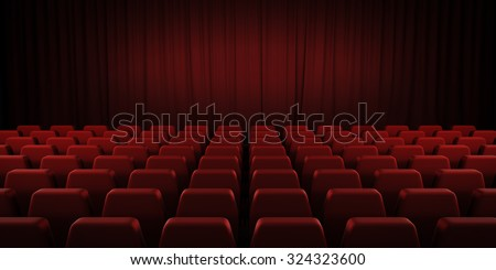 Closed theater red curtains and seats. 3d render image. - stock photo