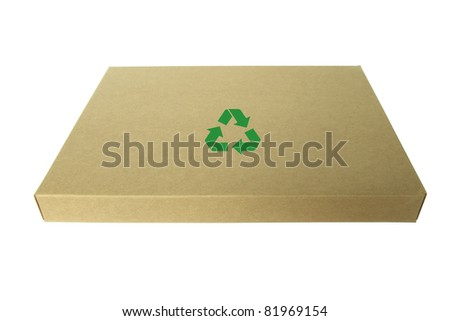 Closed thin cardboard box Isolated on a white background.