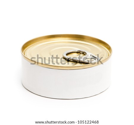 closed tin can isolated on white background - stock photo