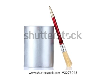 closed tin cans with paint and brush  isolated on white - stock photo