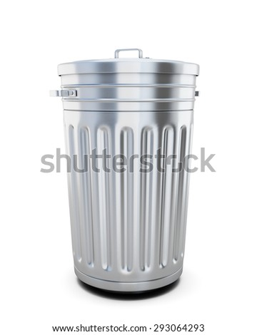 Closed trash can isolated on white background. 3d illustration.
