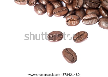 closed-up coffee beans on white background , textures, pattern