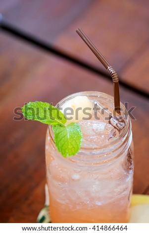 closed up iced lychee soda - stock photo