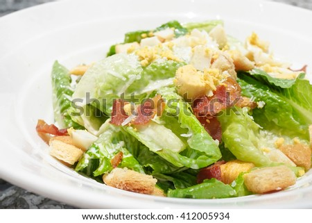 Closed up of Cesar Salad - stock photo