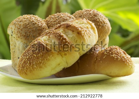Closed up of Sesame and garlic bread on the plate - stock photo