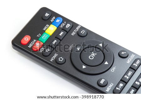Closed up OK button on the smart plyer remote control - stock photo