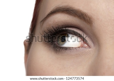 Closed up open eye of a woman gazing over a white background