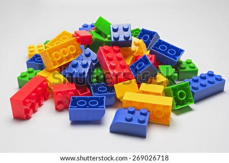 Closed up plastic building blocks for kids. - stock photo