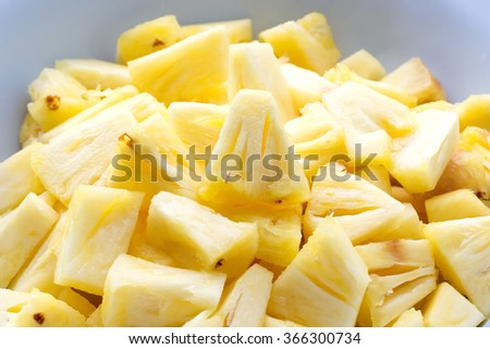 Closed up Sliced pineapple - stock photo