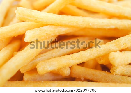 Closed up Texture of Crispy Potato Sticks, Selective Focus, Pattern - stock photo