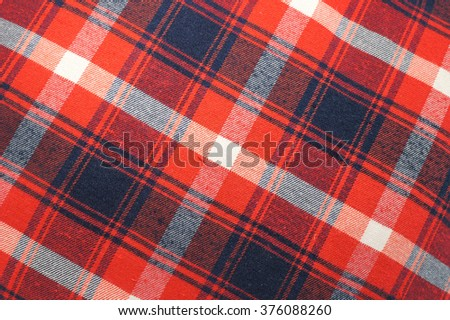 Closed up Texture of tablecloth, gingham pattern in red, white and navy blue, checked pattern - stock photo