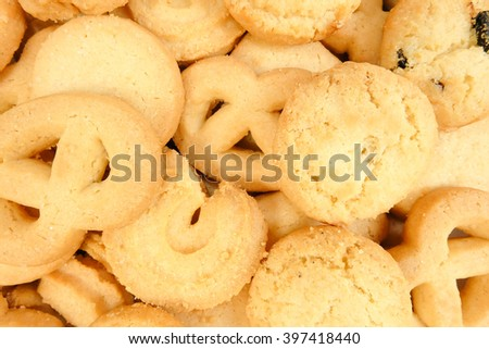 Closed up Texture / Pattern of Shortbread biscuits in various shapes, selective focus, top view, cookies background - stock photo