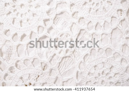 Closed up texture / pattern of white crochet tablecloth for background - stock photo