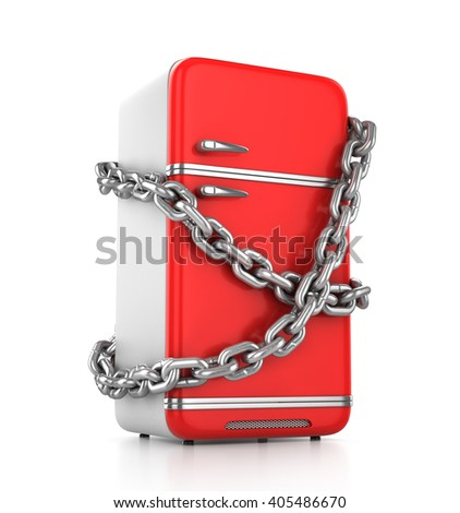 Closed vintage red fridge with chain around it - diet concept. 3d illustration - stock photo