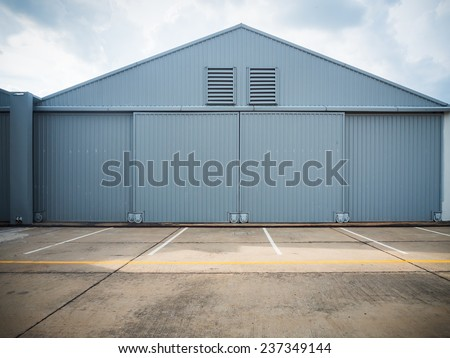 Closed warehouse doors. - stock photo