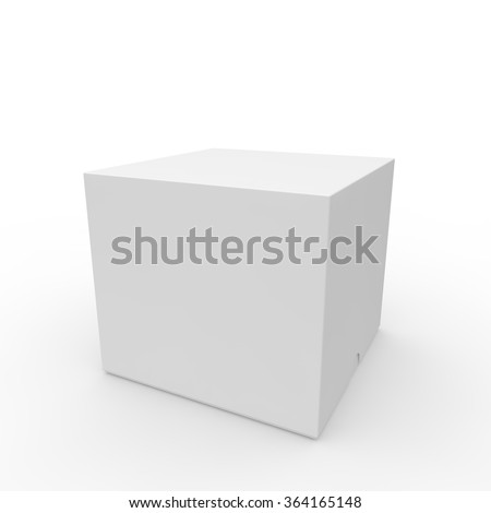 Closed white blank box. With a hole on the lid to open. Isolated white background