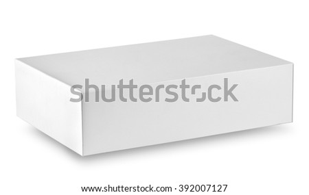 Closed white box isolated on a white background
