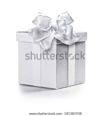 Closed white box with ribbon bow isolated on white background clipping path included - stock photo