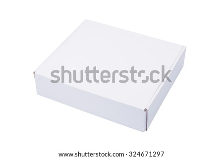 Closed white cardboard Box or paper box, isolated on White background