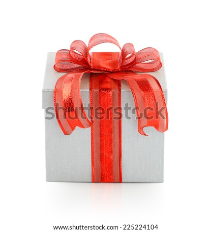 Closed White Cardboard Carton Gift box tied with a red ribbon and bow With Lid. Illustration Isolated On White Background. This has clipping path. - stock photo