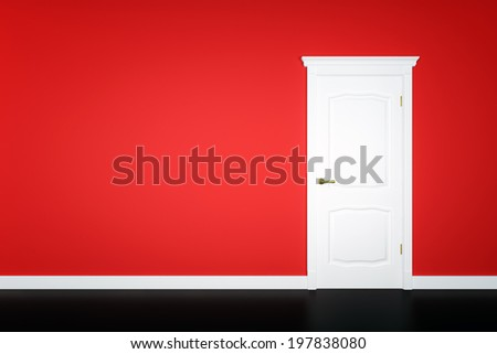 Closed white door on red wall background - stock photo