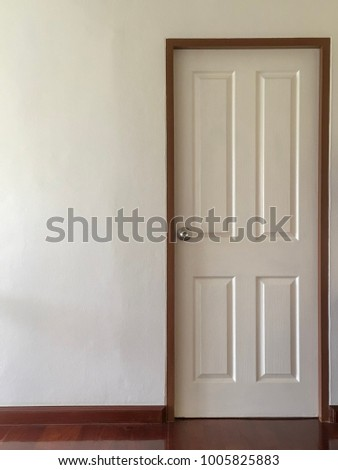 closed white door wooden frame plain stock photo edit now