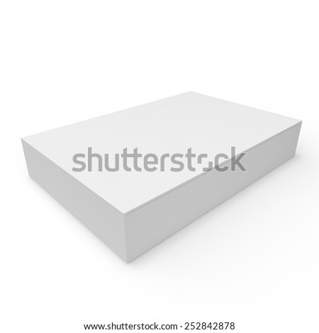 Closed white empty box of chocolates, gifts and other goods and products - stock photo
