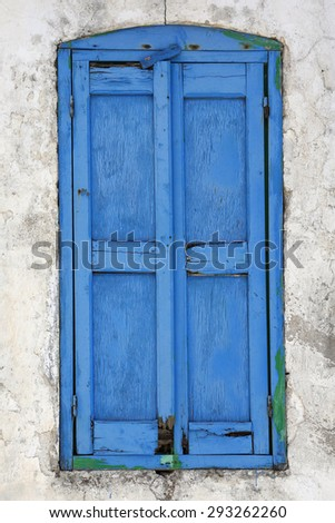 closed window in Greece - stock photo