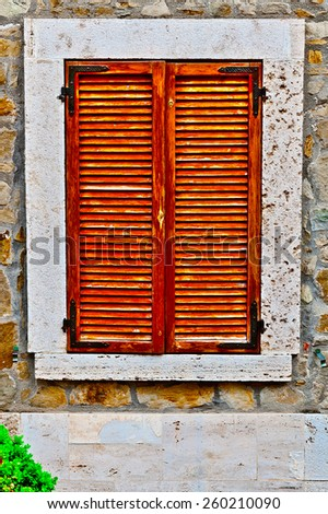 Closed Window of Old Building in Italy - stock photo