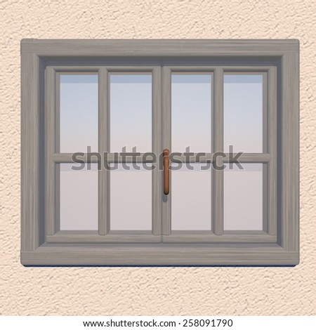 Closed window over blue sky, 3d render - stock photo