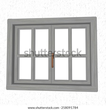 Closed window over white landscape, 3d render - stock photo