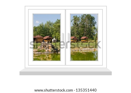 closed window with a kind on rural landscape on a white background