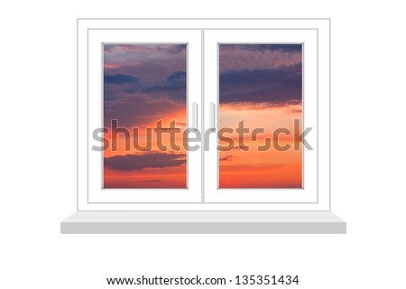closed window with a kind on sunset on a white background