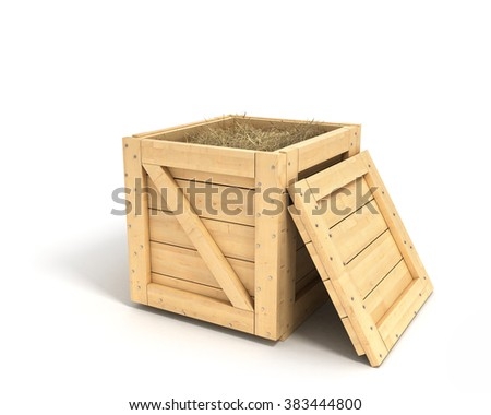 closed wooden box isolated with clipping path - stock photo