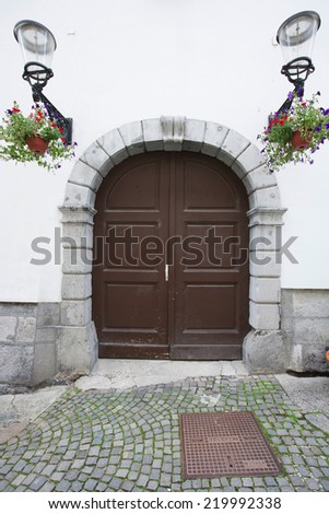 Closed wooden door of house