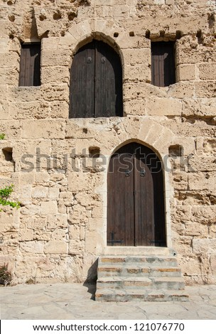 Closed wooden doors of medieval fortress, Cyprus