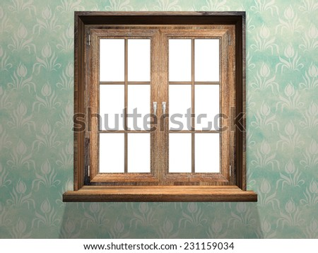 Closed wooden window. 3d render